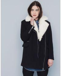 Pull&Bear Fur Collar Biker Coat - Lyst