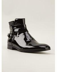 Giorgio Armani Black Buckled Boots - Lyst