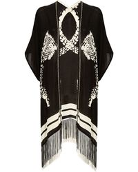 River Island Black And White Animal Print Tassel Cover Up - Lyst