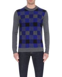 McQ by Alexander McQueen Checked Knitted Jumper - For Men blue - Lyst