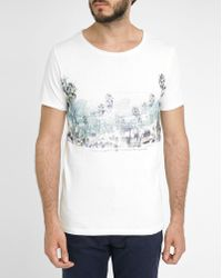Selected White Round-Neck Short-Sleeve Printed T-Shirt - Lyst