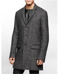 Calvin Klein | White Label Wool Overcoat | Lyst