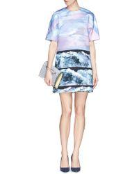 Victoria, Victoria Beckham Wave Print Kimono Sleeve Shift Dress - Lyst