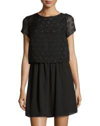 Dex Polka-Dot Short-Sleeve Dress - Lyst
