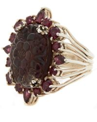 Stephen Dweck - Silver Quartz And Garnet Carved Floral Ring - Lyst