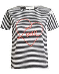 Chinti And Parker Striped Love Motif Cotton Tshirt - Lyst