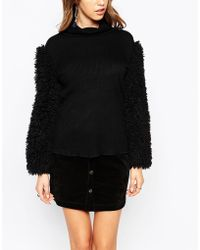 Anna Sui | Roll Neck With Faux Fur Sleeves | Lyst