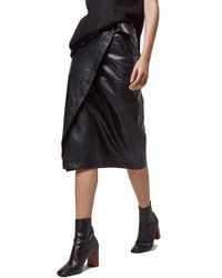 Topshop Faux Leather Wrap Skirt in Black | Lyst