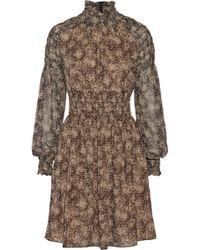 Michael Kors Smocked Printed Silkchiffon Mini Dress - Lyst