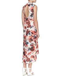 Haute Hippie Floralprint Highlow Chiffon Dress - Lyst