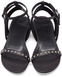 McQ by Alexander McQueen Black Studded Solenie Flat Sandals - Lyst