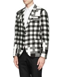 Neil Barrett Mix Check Print Twobutton Blazer - Lyst
