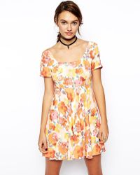 Asos Reclaimed Vintage Skater Dress with Cross Back in Multi Floral Print - Lyst