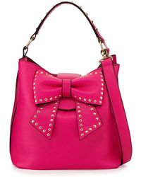 Betsey Johnson Hopeless Romantic Studded Bow Bucket Tote Bag Fuchsia - Lyst