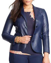 Ralph Lauren Lauren Plus Leather Blazer - Lyst