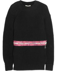 Christopher Kane Zipdetailed Ribbed Cotton Sweater - Lyst