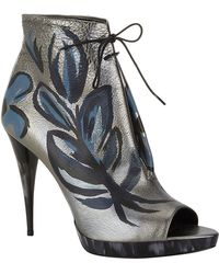 Burberry Jenkin Peep-toe Silver Linings Collection Ankle Boot - Lyst