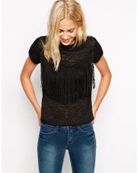 Asos T-Shirt In Burnout With Fringe Detail - Lyst