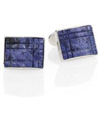 David Donahue Plaid Sodalite & Sterling Silver Cuff Links blue - Lyst