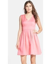 Betsey Johnson Jacquard V-Neck Fit & Flare Dress - Lyst