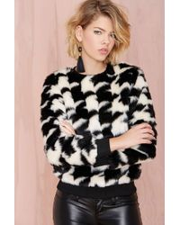 Nasty Gal Glamorous Hound Out Faux Fur Sweatshirt - Lyst