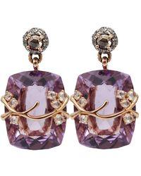 Federica Rettore - Amethyst And Diamond Drop Earrings - Lyst