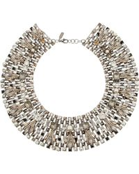 Vickisarge - Speakeasy Palladiumplated Swarovski Crystal and Faux Pearl Collar Necklace - Lyst