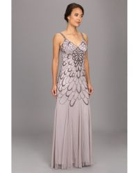 Adrianna Papell Beaded Scoop Back Long Prom - Lyst