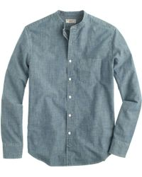 J.Crew Wallace & Barnes Band-Collar Japanese Selvedge Chambray Shirt - Lyst