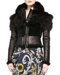 Burberry Prorsum Cropped Fur & Leather Jacket black - Lyst