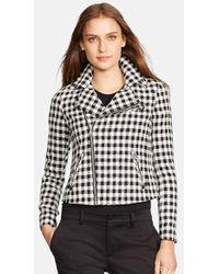 Lauren by Ralph Lauren Check Linen Blend Moto Jacket - Lyst
