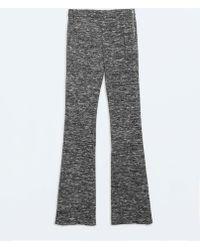 Zara Knit Bellbottom Trousers - Lyst