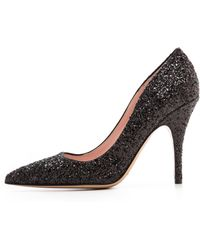 Kate Spade Licorice Pointed Toe Pumps Black Glitter - Lyst