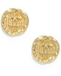 Chanel Preowned Gold Cc Button Vintage Clip On Earrings - Lyst