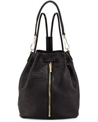 Elizabeth And James Cynnie Leather Drawstring Backpack Black - Lyst