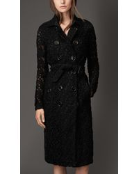 Burberry Floral Lace Trench Coat - Lyst