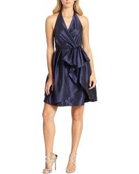 Halston Heritage Pleated One-shoulder Cocktail Dress - Lyst