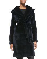 J. Mendel Mink Fur Hooded Tie-Waist Coat blue - Lyst
