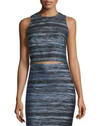 Nicole Miller Artelier - Sleeveless Striped Crop Top - Lyst