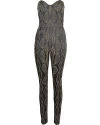 Again - Olive Snake Structured Strapless Jumpsuit - Lyst