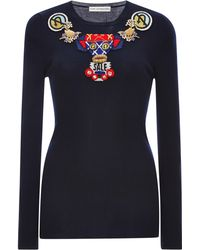 Mary Katrantzou Embellished Ribbed Wool Sweater - Lyst
