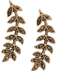 Lucky Brand - Crystal-accented Leaf Crawler Earrings - Lyst