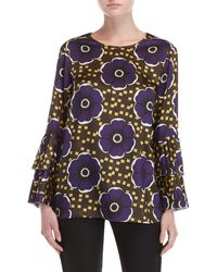 P.A.R.O.S.H. - Printed Pleated Bell Sleeve Top - Lyst