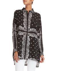 Kendall + Kylie - Blace Oversized Bandana Print Shirt - Lyst