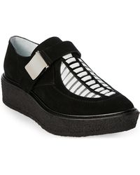 Proenza Schouler - Black & White Suede Woven Creepers - Lyst