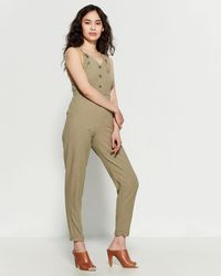 Derek Heart - Olive Button-front Jumpsuit - Lyst