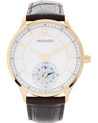 Movado - 0660008 Gold-tone & Brown Circa Watch - Lyst
