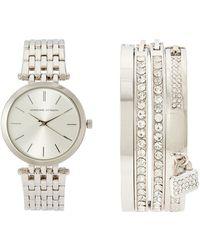 Adrienne Vittadini - Adst1705 Silver-Tone Watch & Bangle Set - Lyst