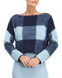 Cedric Charlier - Blue Buffalo Check Cropped Sweater - Lyst