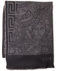 Versace - Greek Key Medusa-logo Wool Shaw - Lyst